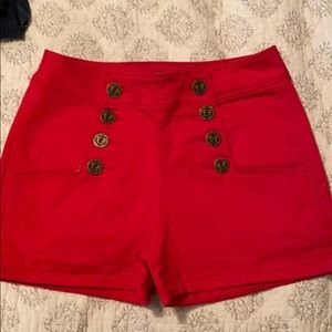 Red Express high waisted button shorts